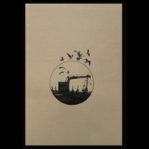 Siebdruck Poster, Natronkraftpapier, print, poster, plakate, design, gestaltung, grafikdesign, vögel, schwarz, braun, docks, hamburg, kran, kräne, möven, vögel, birds, kreis, circle, rund, siebdruck, posterdruck,siebdruck-workshops,live printing, design, grafik, motiv goldener schnitt