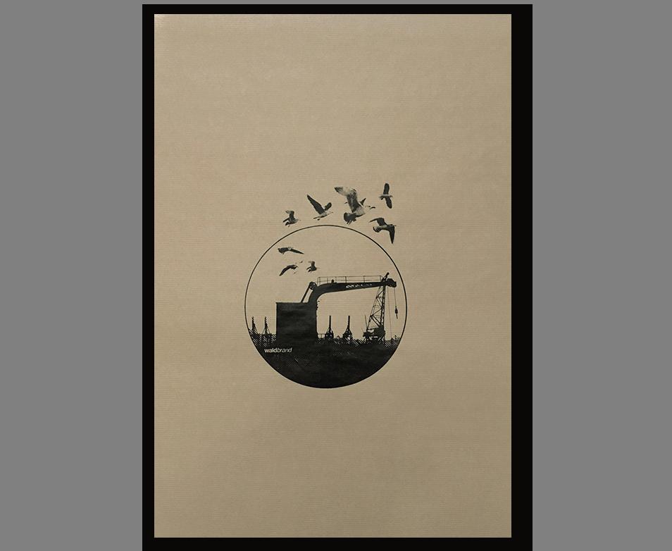 Dockland - Siebdruck auf Natron-Kraft-Papier