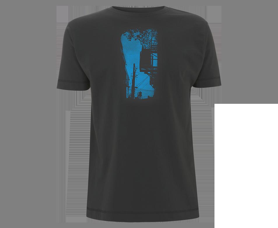 Chateau d´eau - dunkelgraues Shirt mit blauer Raster-Grafik