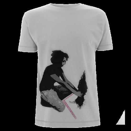 She and Tree - 2-farbiger Siebdruck auf hellgrauem Shirt aus Bio-Baumwolle, siebdruck, grafik, waldbrand, design, shirts, bedrucken, siebdruck