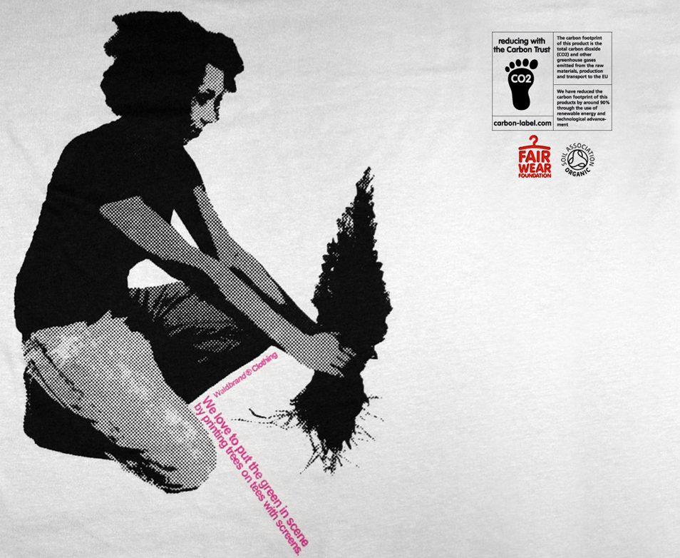 She and Tree - 2-farbiger Siebdruck auf hellgrauem Shirt aus Bio-Baumwolle, siebdruck, grafik, design, waldbrand, clothing, nachhaltig, bio, fair