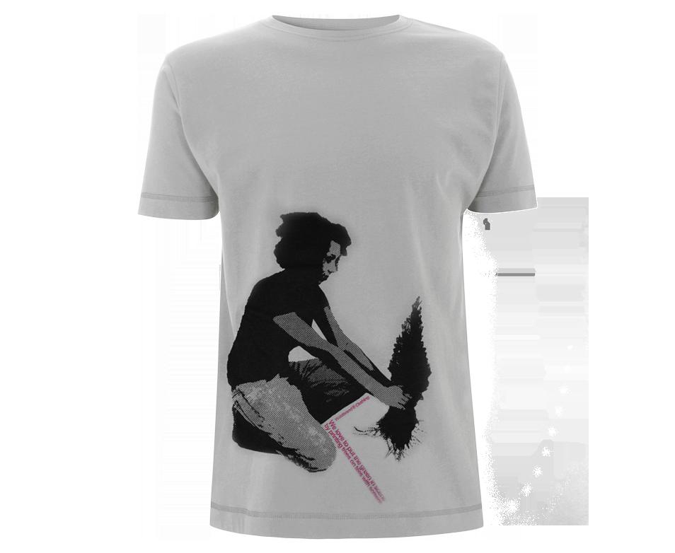 She and Tree - 2-farbiger Siebdruck auf hellgrauem Baumwoll-Shirt