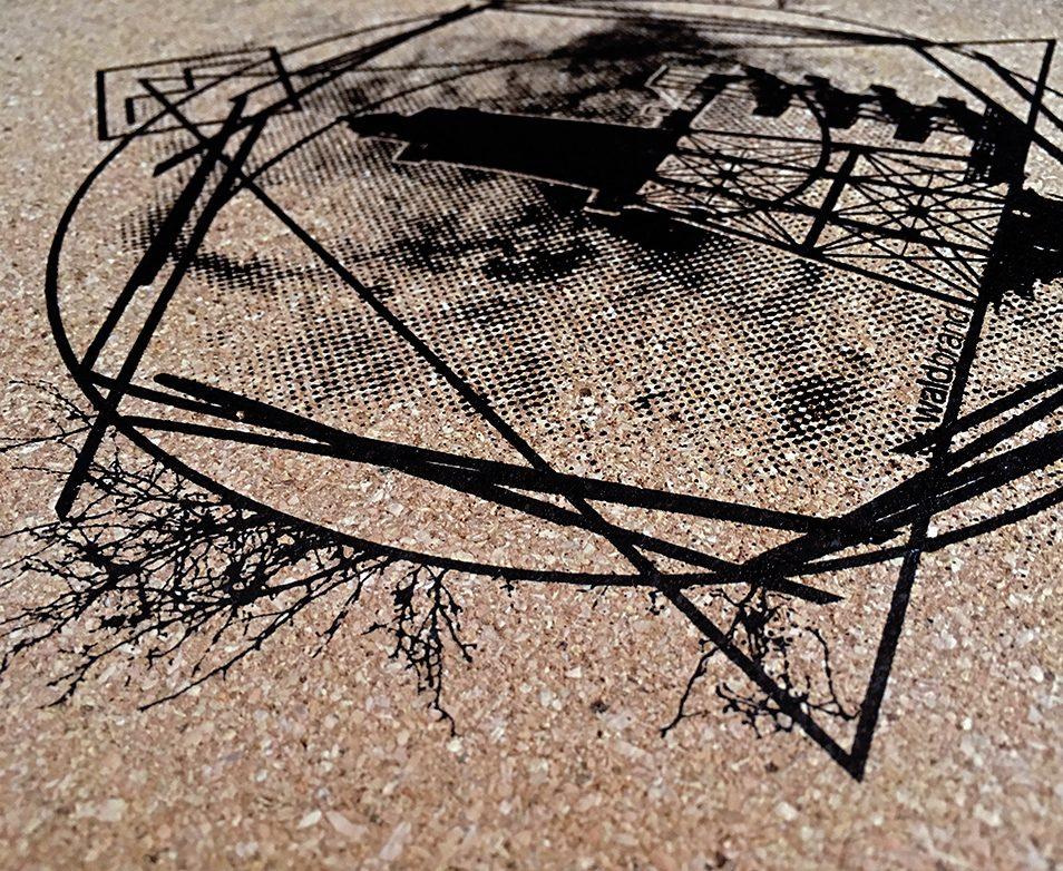 kork, kork-mousepad, unterlage, untersetzer, La communion Kork Siebdruck,coaster, platzmatte, korkmatte mit siebdruck, siebdruck poster, DIN A3, grafik, design, siebdruck auf kork, korkdruck, pinnwand