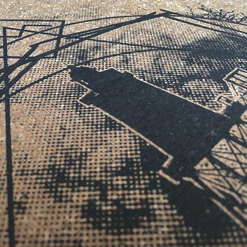 kork, kork-mousepad, unterlage, La communion Kork Siebdruck,untersetzer, coaster, platzmatte, korkmatte mit siebdruck, siebdruck poster, DIN A3, grafik, design, siebdruck auf kork, korkdruck, pinnwand