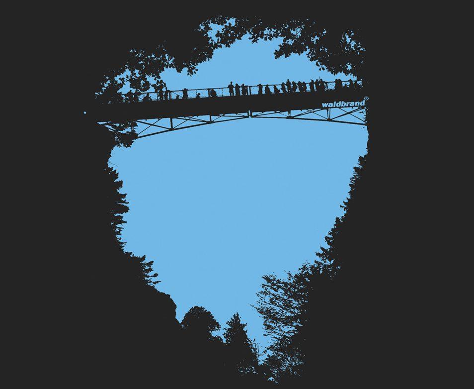 Siebdruck-Grafik einer Brücke mit Menschen, umgeben von Bäumen, Wald und Natur.