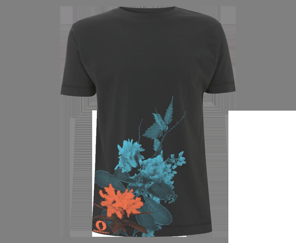 Fancy Plants - dunkelgraues Shirt mit 2-farbigem Siebdruck