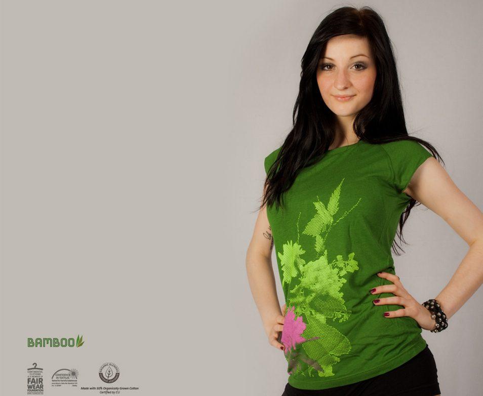 Fancy Plants - Siebdruck auf grünem Shirt,, waldbrand shirts, mädels, girls, frauen, damen, t-shirts, siebdruck, design, grafik, nrw, ruhrgebiet, screenprint, floral, pflanzen, bambus, bio