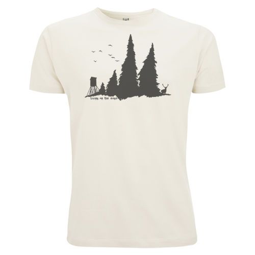 living on the edge, shirt, Siebdruck, Textildruck, Grafik, design, wald, hoch sitz, Hirsch, Vögel, birds, deer, forest, design, motif, grafik,