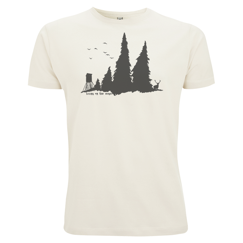 Living on the edge - Naturfarbenes Bio-Baumwoll-Shirt mit Wald-Motiv