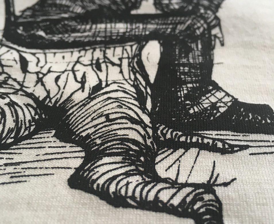 Once there was a tree, shirt, Grafik, illustration, Javan van Zandt, Illustrator, mann, Baumstumpf, Baumstamm, alter mann mit stock und hut, siebdruck, textil druckerei