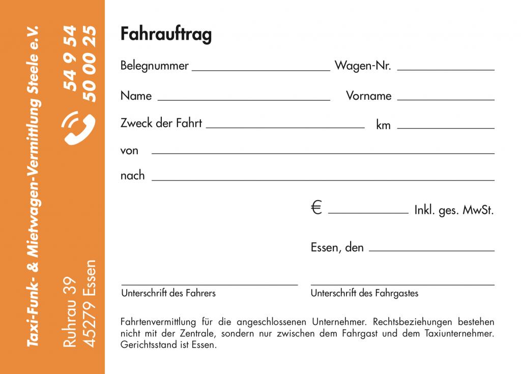 Fahraufträge, taxi Steele e.v. Essen, grafik, design, Printmedien, Satz, layout, reinzeichnung