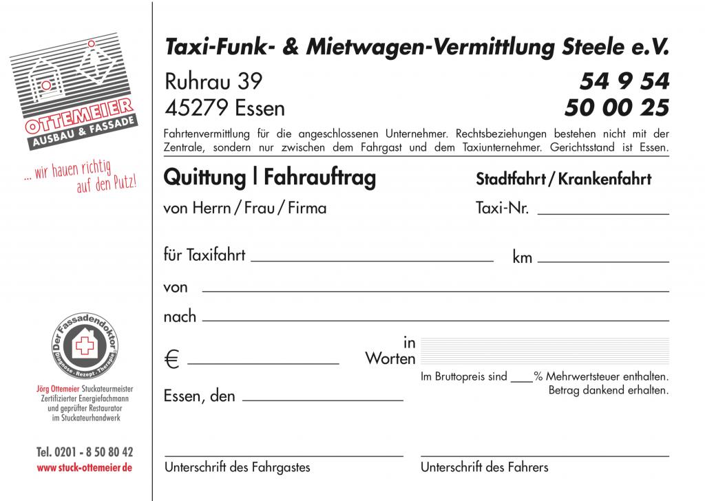Quittungen, durchschreibesätze, taxi Steele e.v. Essen, grafik, design, Printmedien, Satz, layout, reinzeichnung