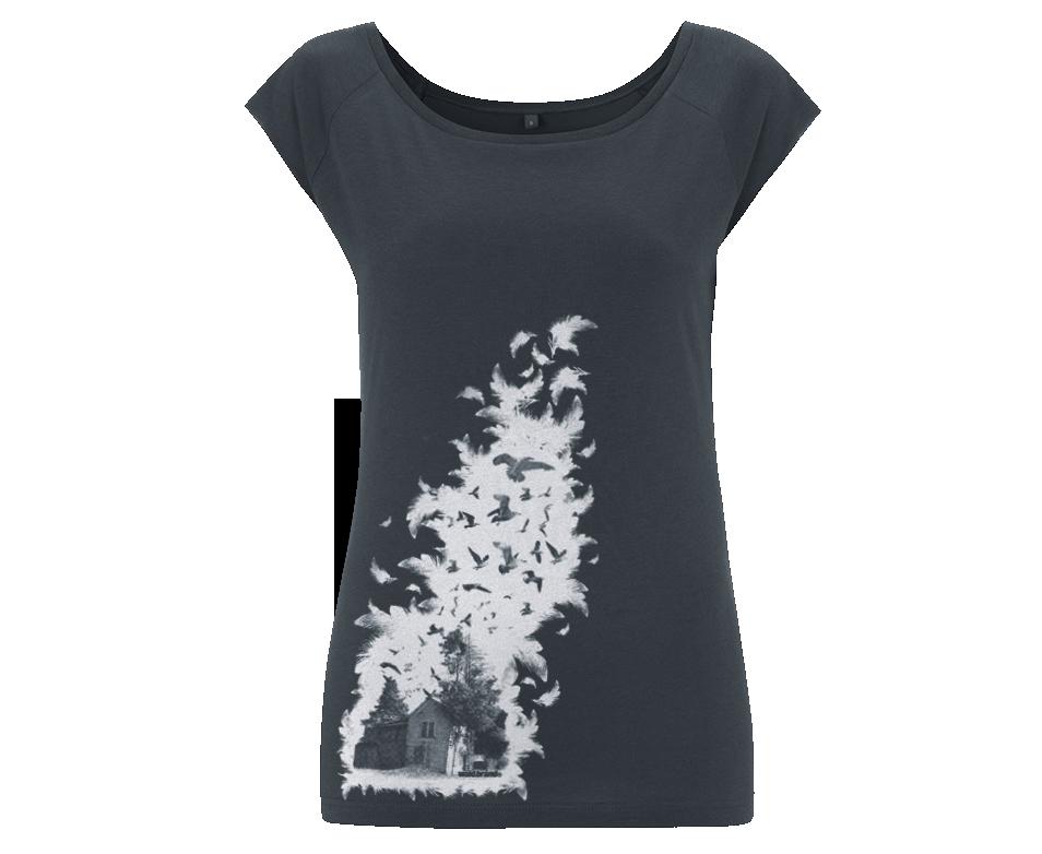 Waldbrand shirt, grau, federn, Vögel, siebdruck, frauenshirts mit Siebdruck, Baraque, Grafik, design, t-shirts, tops
