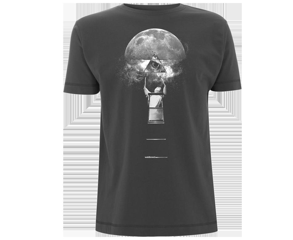 omniscience, dunkelgraues T-Shirt für Jungs, shirts, grafikshirts, Siebdruck shirts, Textildruck, esoterisch, spirituell, Natur, äuge, Eule, Mond, galaxie