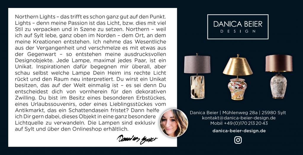 Corporate Design und Flyer-Gestaltung für Danica Beier - Sylter Design-Manufaktur für Lampen und Lichtobjekte.