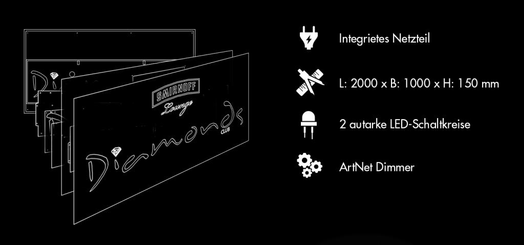 Konstruktionszeichnung grafik design Schild Leuchtkasten LED-Schild.