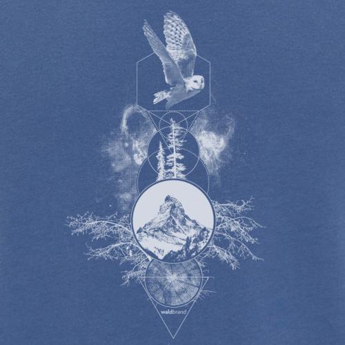 Spiritual Particles blaues Shirt für Jungs, Eule, Berg, Baum, Galaxie, Kreisen, Dreiecken, spirituelle Grafiken, motive, waldbrand shirts, tattoo art, totem