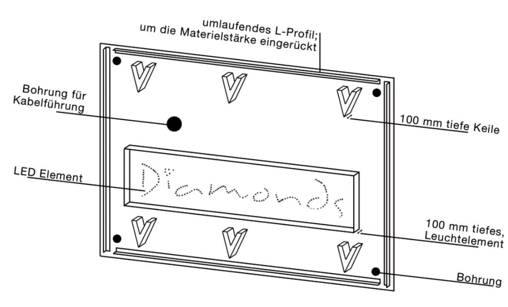 Konstuktionszeichnung für Leuchtkasten mit LED-Technik und Swarovski Steinen fr Diamonds Club Köln.