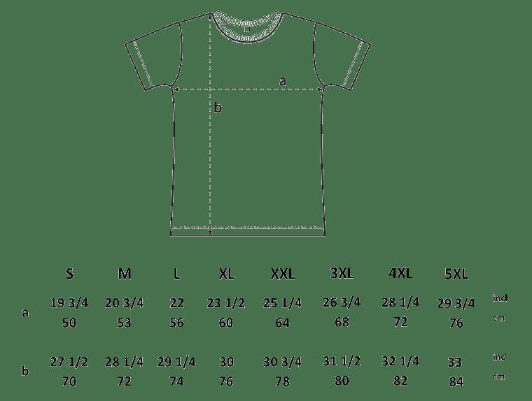 Shirt Größe Abmessungen