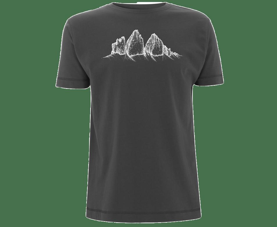 Die drei Zinnen auf dunkelgrauem Herren-Shirt