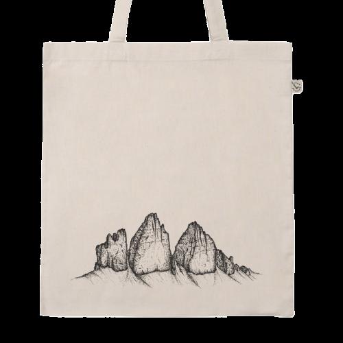 Drei Zinnen Dolomiten Siebdruck auf Baumwolltasche
