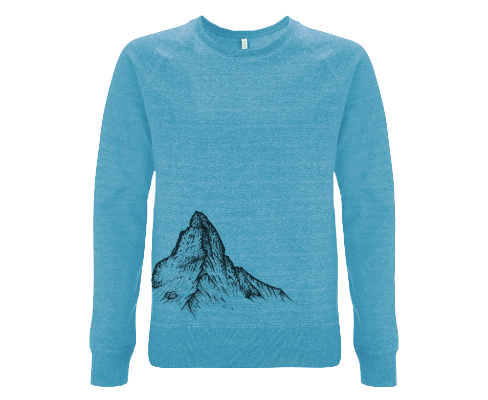 Matterhorn Siebdruck auf blauem Sweatshirt