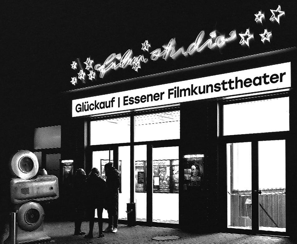 Essener Filmstudio Glückauf - schwarzes Herren-Shirt mit Siebdruck