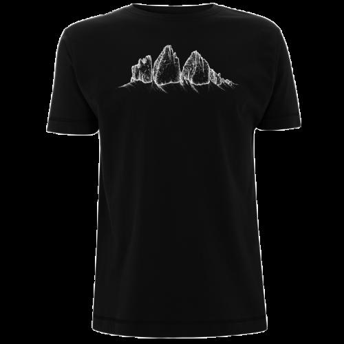Die drei Zinnen auf schwarzem Herren-Shirt
