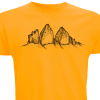 Die drei Zinnen auf gelbem Herren-Shirt