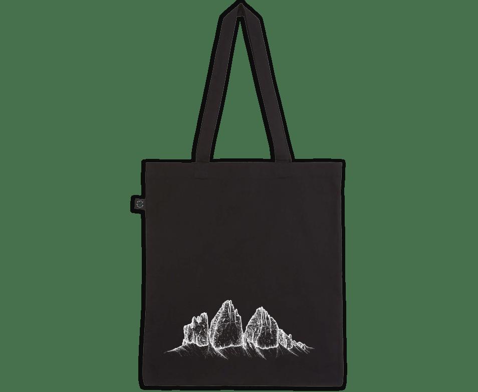Drei Zinnen Dolomiten Siebdruck auf schwarze Baumwolltasche