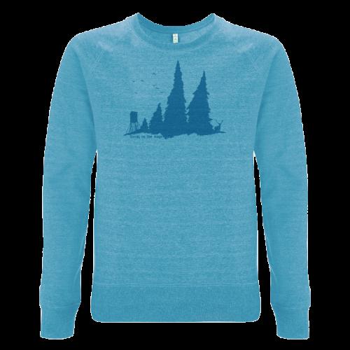 Wald Siebdruck auf blauem Sweatshirt