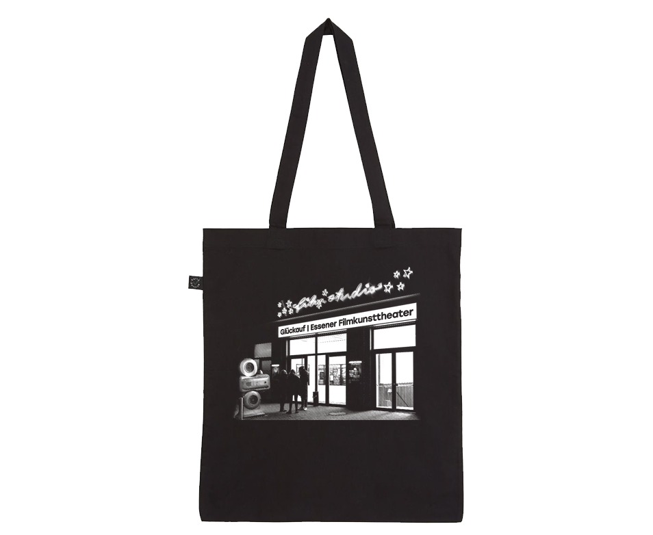 Filmstudio Glückauf Siebdruck auf schwarze Baumwolltasche