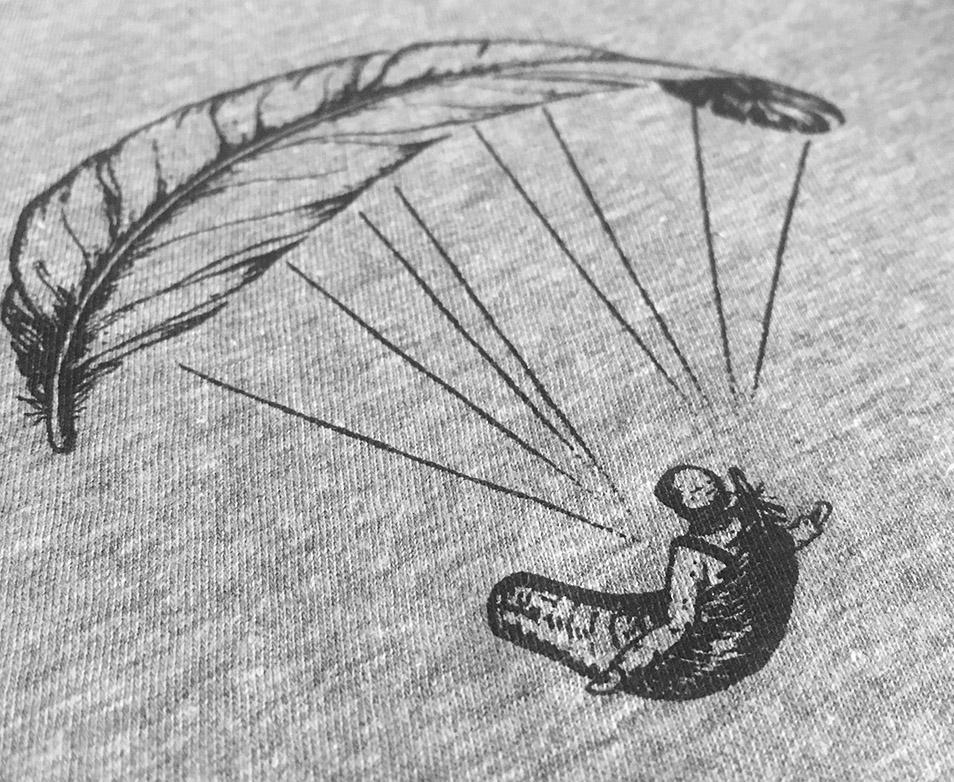Paragliding Feder Damen T-Shirt in Melangegrau