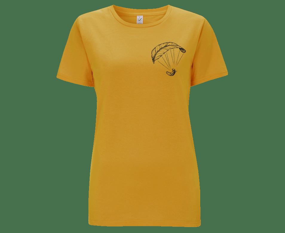 Gelbes Paragliding Frauen-Shirt
